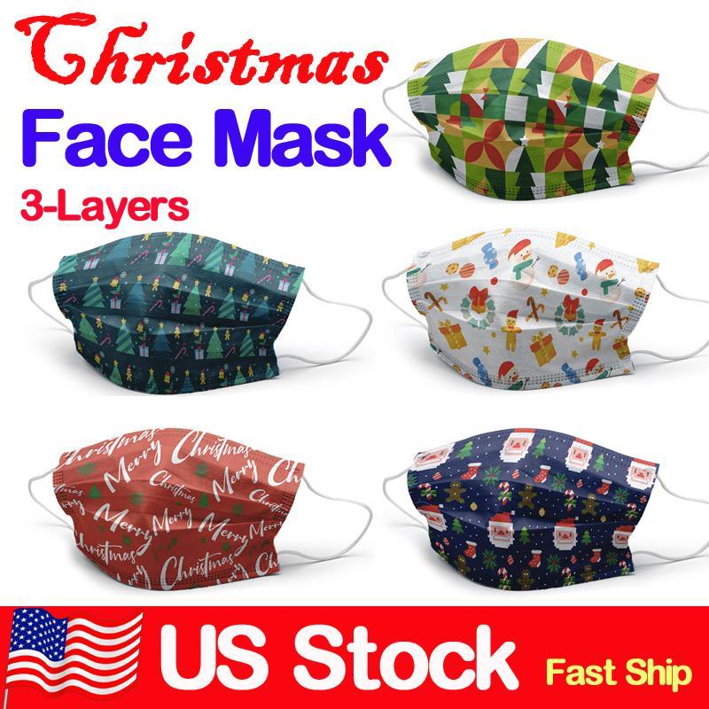 Noel Yüz Maskeleri earloop Ağız Yüz Çocuk X'mas Hediye Yetişkin Çocuk 50pcs / Box ile tek kullanımlık 3-Katman Maskesi Koruma