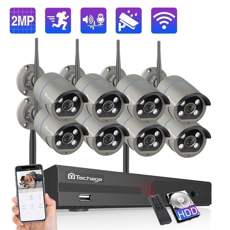 Techage 8CH 1080 P Kablosuz Wifi Kamera NVR Sistemi 2MP WiFi 2-Way Ses Yapı Mic Video Açık CCTV Güvenlik Gözetim Kiti LJ201209
