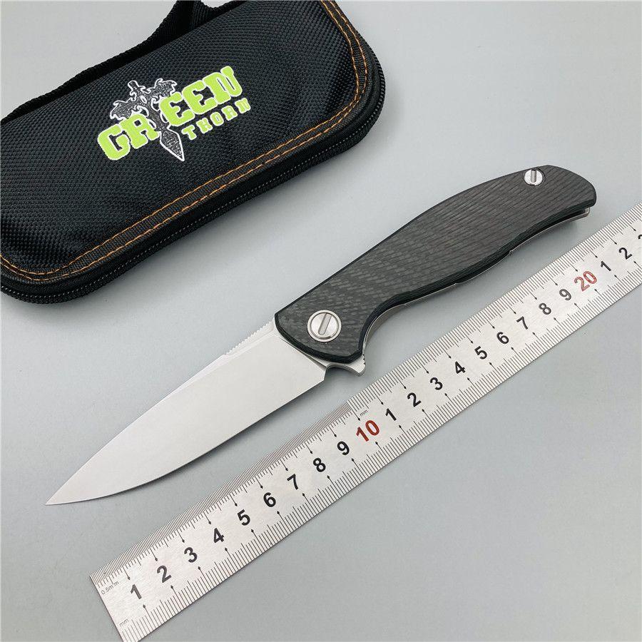 épine vert Shirogorov Hati 95 palier Flipper pliage poignée de titane en fibre de carbone de la lame D2 camping en plein air couteau pliant outils EDC