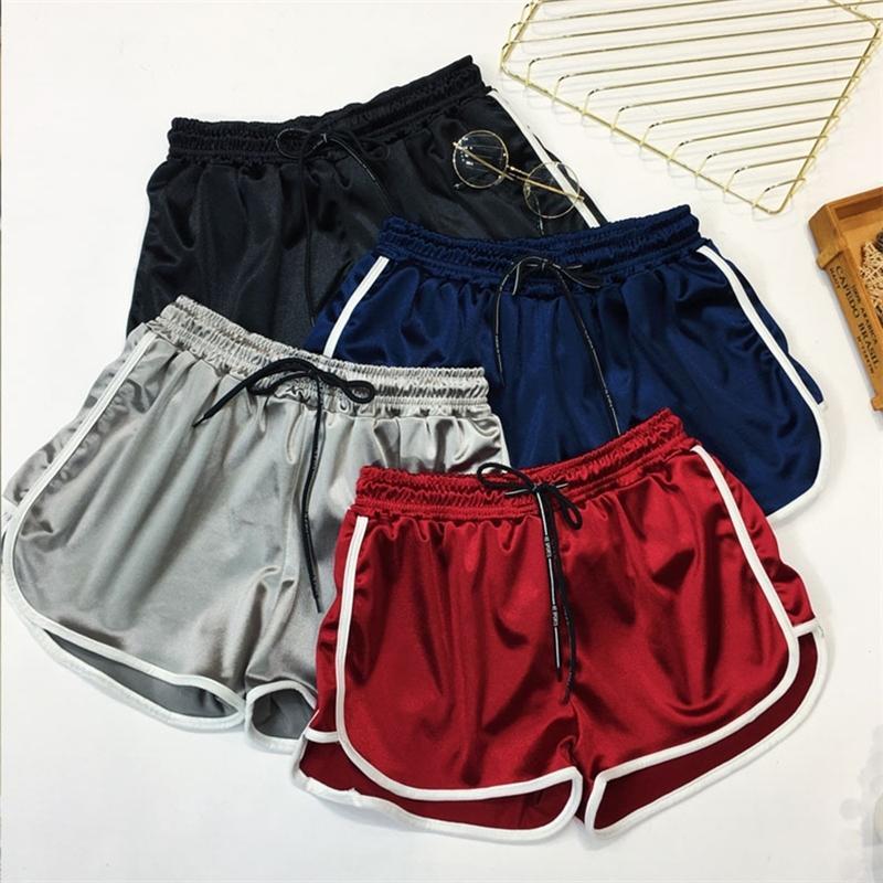 Große Größe Casual Fitness Booty Shorts Damen Lose Kordelzug Hohe Taille Seide Kurze Mädchen Sommer Lässig plus Größe Shorts 4XL 5XL Y200512