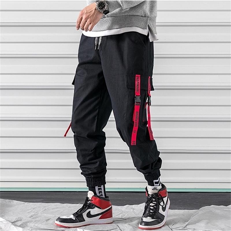 Abril Momo Hombres Hombres Pop Lápiz Pantalones Pantalones Swearswear Streetwear Masculino Casual Moda Gran tamaño Pantalones largos Ropa deportiva Y201123