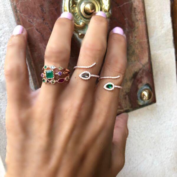colore della signora Women Fashion Rose Gold 3pc strass anelli di cristallo fragile elegante piccolo anello gioielli Set Size 6-8 arcobaleno anello cz