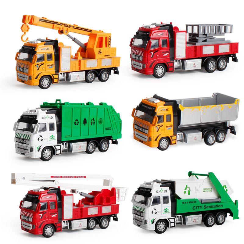 Pull Back coulissante en alliage Municipal Engineering Véhicule d'incendie modèle de voiture Pelle Garbage Truck Toy Cadeaux Enfants