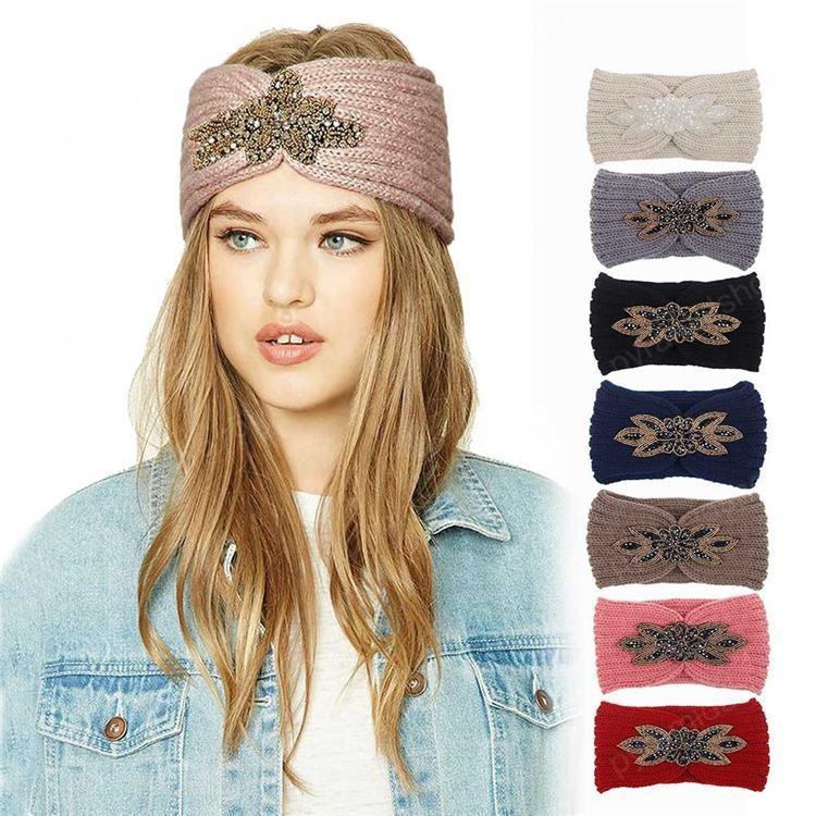 8 couleurs diamant Tricoté crochet bandeau bande femmes cheveux Sports d'hiver Turban Yoga Head Band Cache-oreilles Cap accessoires pour cheveux