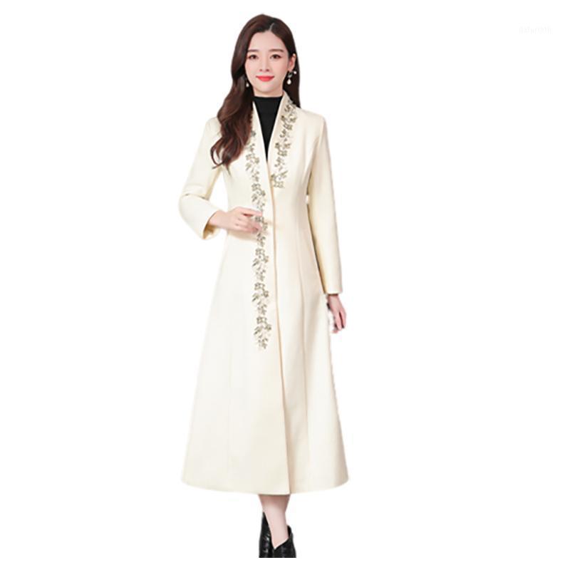 Herbst und Winter neue koreanische Mode wilde lange verdickte Damen schlank Temperament-Wollmantel bestickter Woll-Trenchcoat1