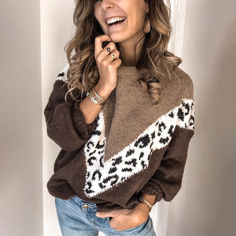 Pullover Frauen Strickpullover 2020 Herbst und Winter Retro Kontrast-Farben-Frauen-Leopard-Splicing-weiche warme Pullover weiblich