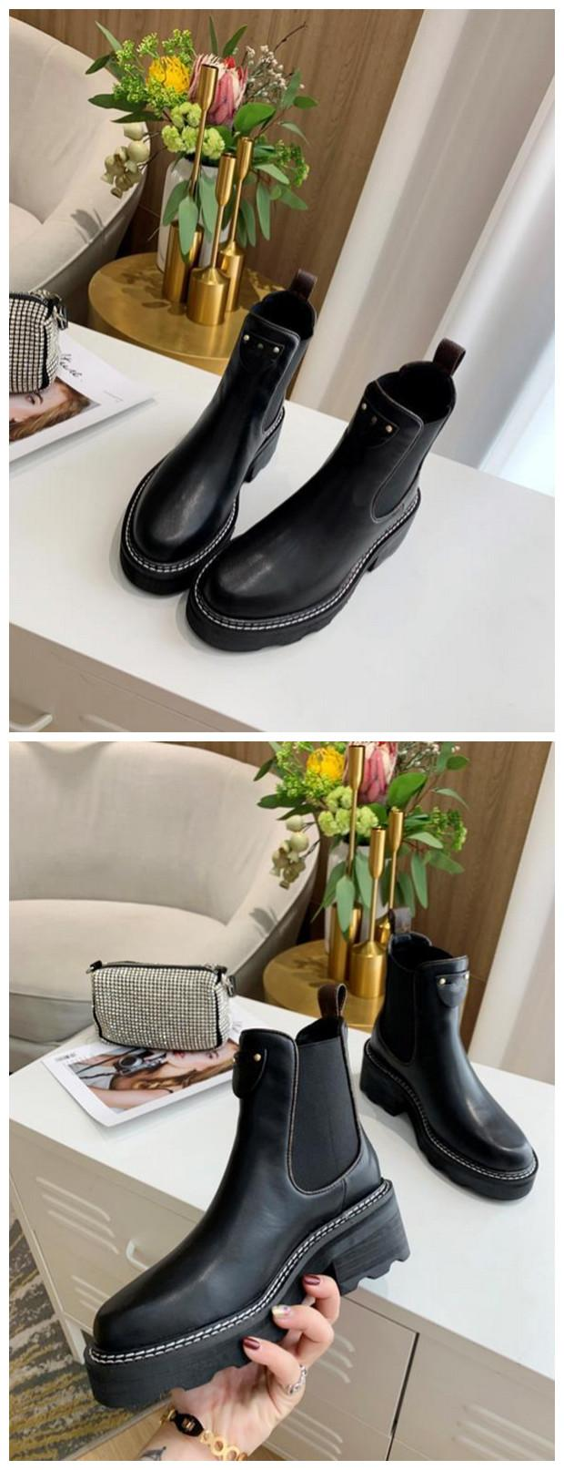 Clásico de la manera BEAUBOURG tobillo botas de zapatos de las mujeres botas de invierno muchachas de las señoras de seda de la piel de vacuno de alta Top para mujer de la bota del tobillo plana Tamaño 35-42