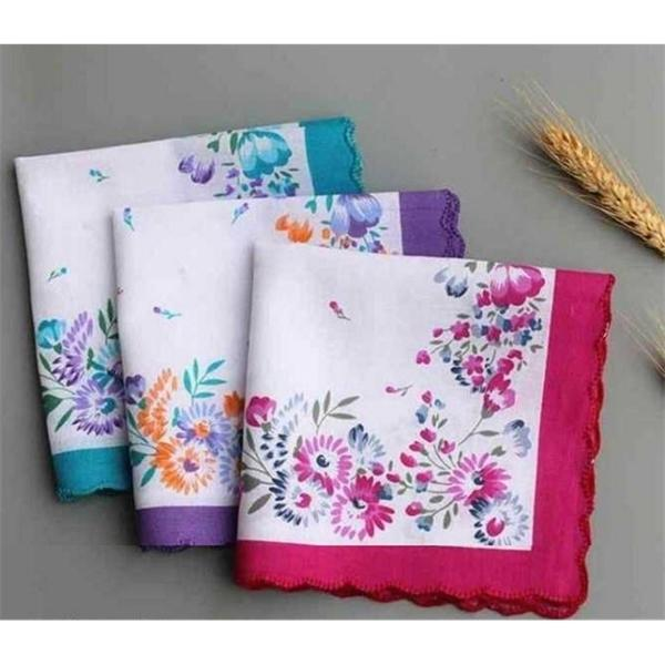 DHD40 Toalhas Hankie Party Casamento Algodão Flor Bordado Handkerchiefs 100% Senhoras Lençós Bolso Floral Favor Colorido Mulheres IKPEO