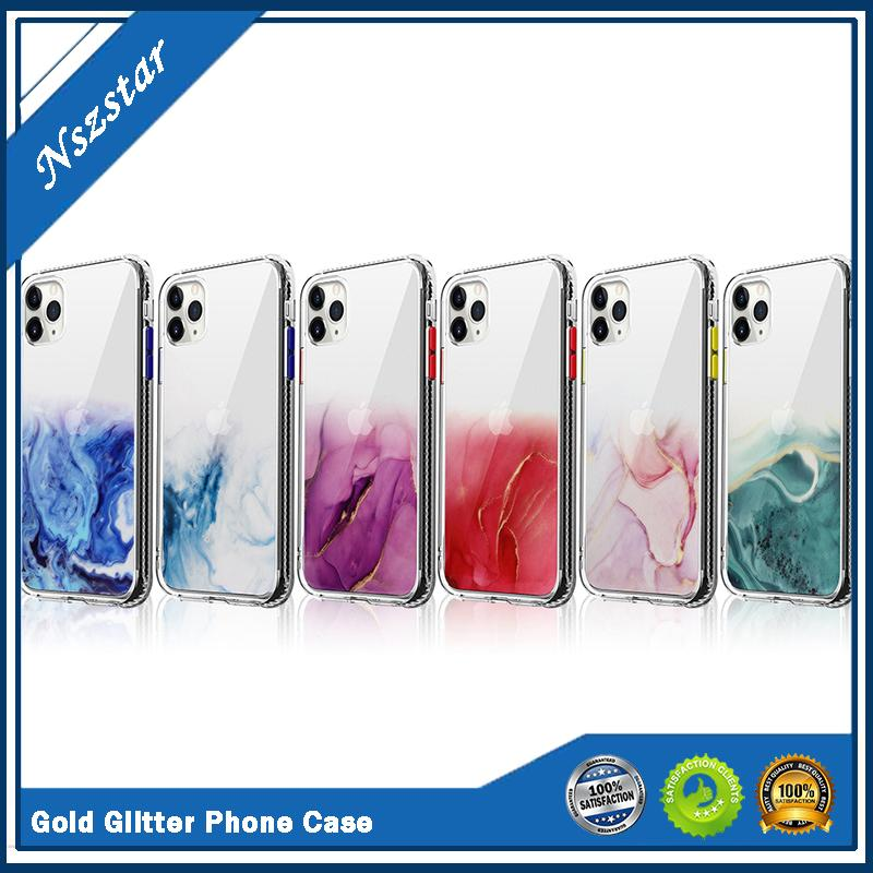 Flow Gold Shimmering Powder Mobile Phone Shell for iphone 11pro max 7/Xr Shimmering Powde Shell Protective Case Fema for iphone 12 7/8plus