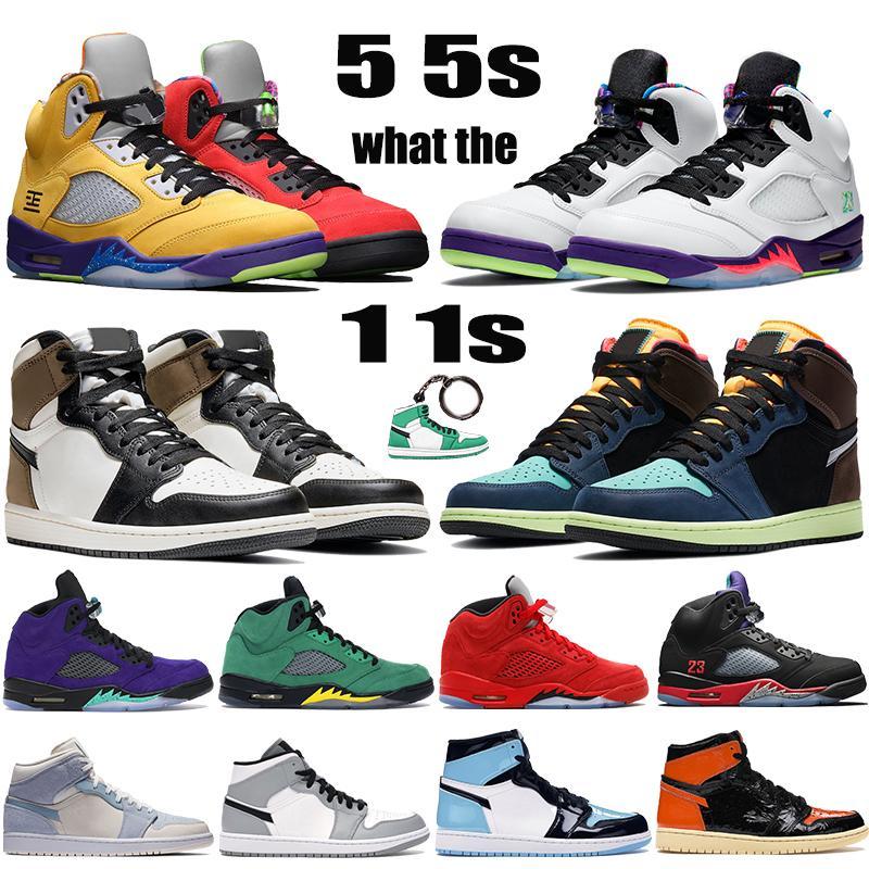 Nuove scarpe da basket Jumpman 5 5s Alternate Bel Grape top 3 travis scotts 1 1s mid light smoke grey mens womens trainers sneakers