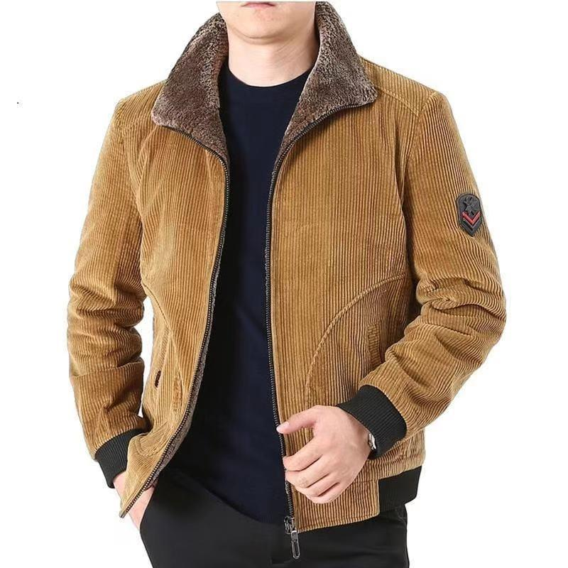Winter Jacket Men Thick Warm Corduroy Cotton Parkas Men Casual Loose Turn Down Collar Multi Pockets parkas hombre invierno coat