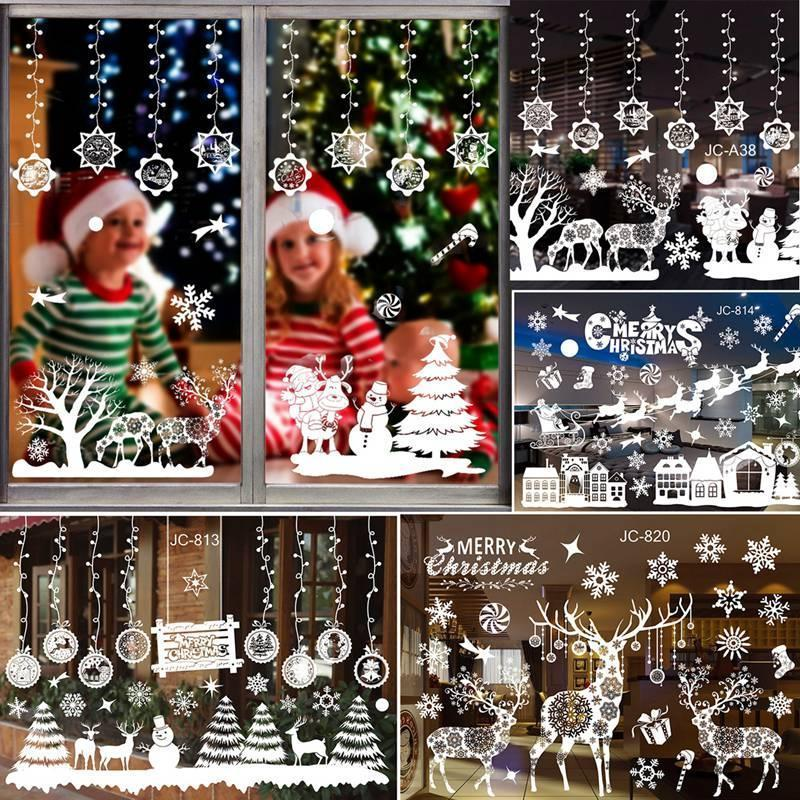 Merry Christmas Wall Stickers Window Glass Stickers 2020 Home Christmas Decorations Ornaments Xmas New Year Home Decor