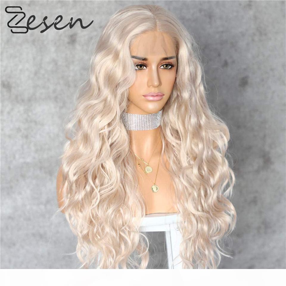 Zesen Platin Sarışın Peruk Doğal Saç Çizgisi ile Sentetik 13 * 4 Dantel Ön Peruk Tutkalsız Isıya Dayanıklı Pembe Peruk Kadınlar Için