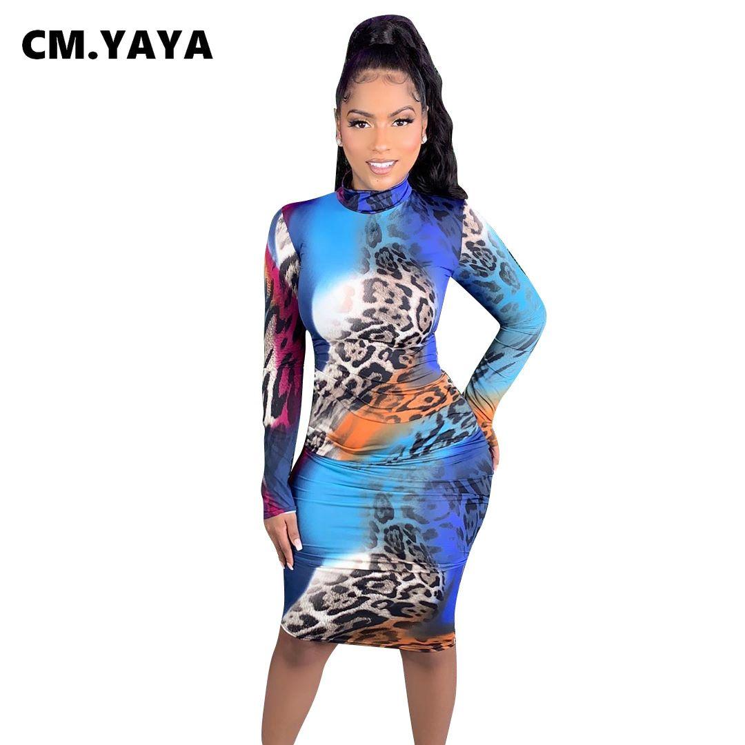 Street Leopard Tie Tye Imprimir Mulheres Midi Vestido Longo Manga Ativa Bodycon Sexy Club Party Vestidos