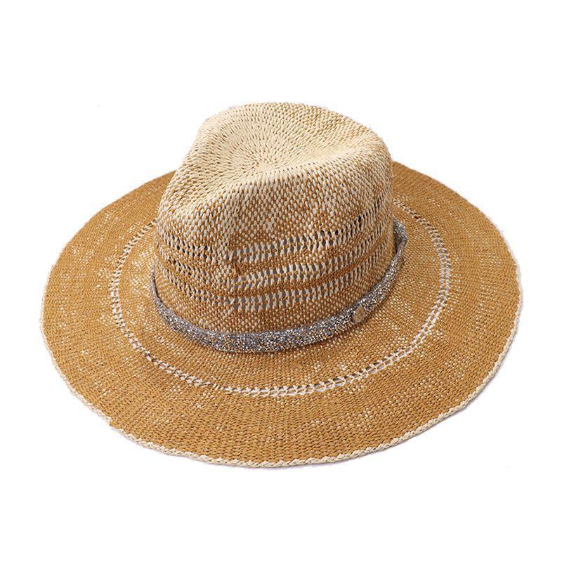 Szeroki Brim Kapelusze Kobiety Summer Słoma Panama Fedora Słońce Kapelusz Gradient Kontrast Kolor Brokat Rhinestone Chain Ochrona UV Travel Beach Cap