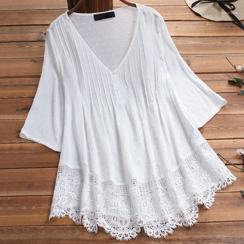 Женщины Блузки Рубашки Плюс Размер Женщины Рубашка Туника Весна Лето Сплошной Цвет V Vintage Vintage Book Blouse Big и Tops1