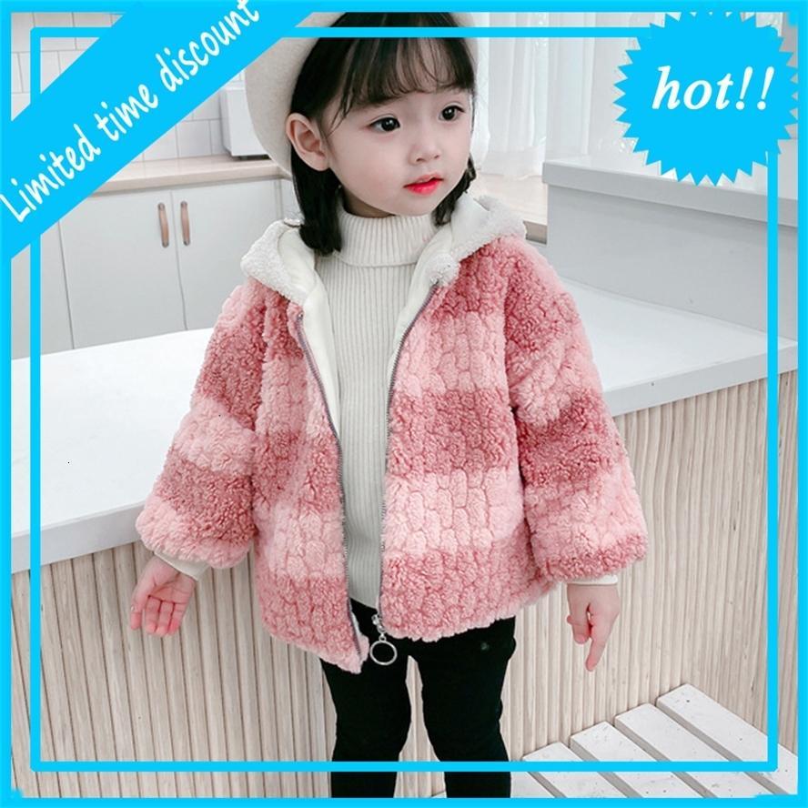 Зимние девочки, привязанные капушоном Фуй Фердь Бербер Флис теплые дети на улице Куртки ребенка девочка пальто 1-8 лет