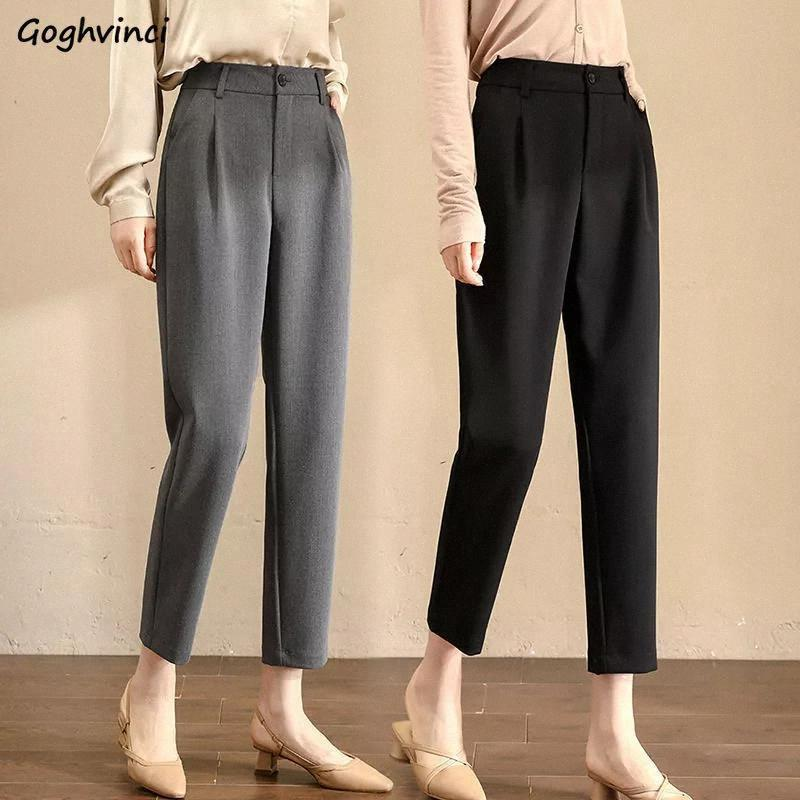 Femmes Casual Pantalon Bouton Fly Kekle-Longueur Solide Slim OL Style Coréen Chic All-Match Femme Pantalons simples Harajuku Ulzzang # JZ3F