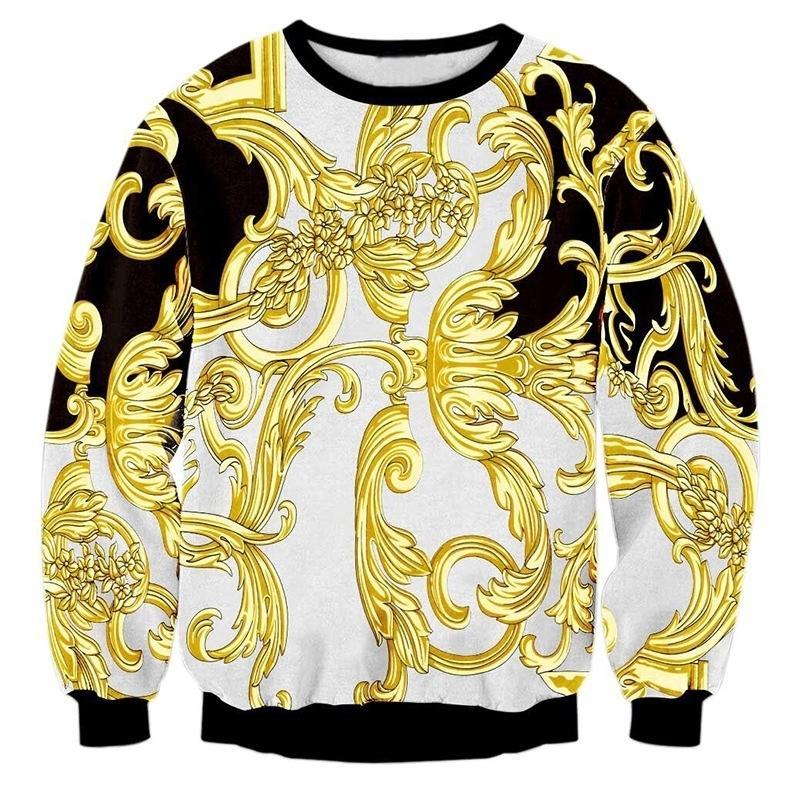 Lujo de alta gama Golden Palace Flowers 3D Impresión Sudaderas Hombres Streetwear Hoodies Boys Outwear White Ropa Mans Moda Tops Y200519