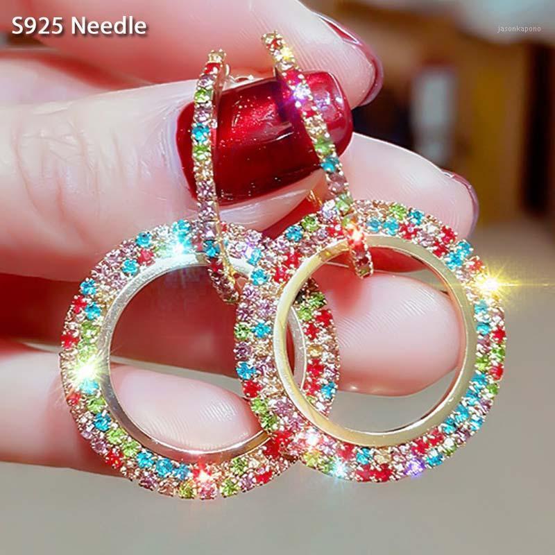 Kadınlar için 925 Ayar Gümüş İğne Hoop Küpe Takı Muticolor Mikro Asfalt Rhinestone Büyük Yuvarlak Rhombus Küpe1