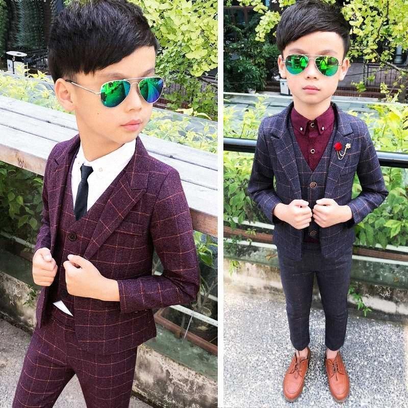 3 PCS Formal Boys Clothes Blazer Vest Pants Children Wedding Suits Tuxedos Kids Elegant Clothing Sets Boy Carnival Party Suit FobJ#