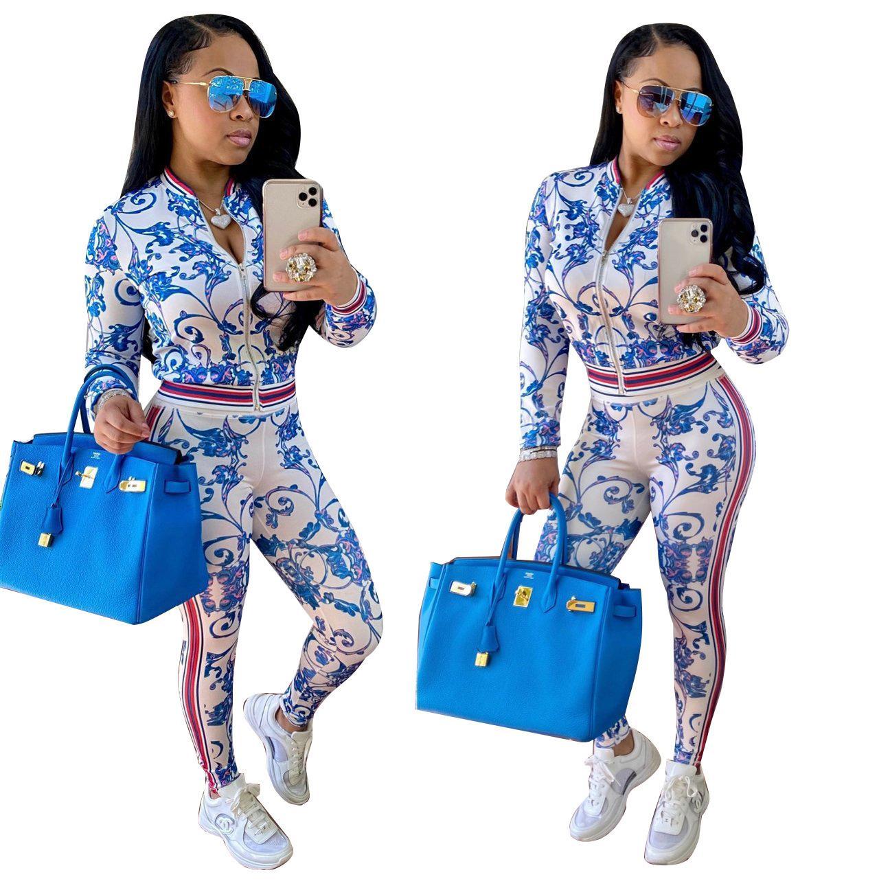 Fashion Women's Costume avec vente chaude Digital Mode Impression beauté Beauté Hot Style Deux Pieces Tracksuit Femmes Tenue de printemps Vêtements pour femmes