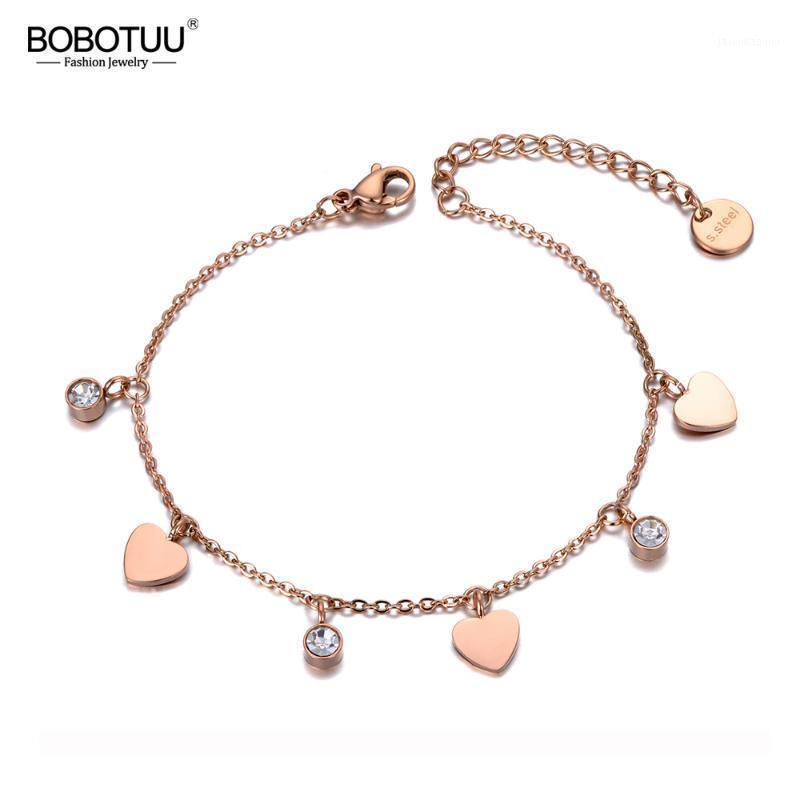 BOBOTUU New Stainless Steel Love Heart CZ Crystal Charm Bracelets For Women Girls Bohemia Chain & Link Bracelet Jewelry BB191391