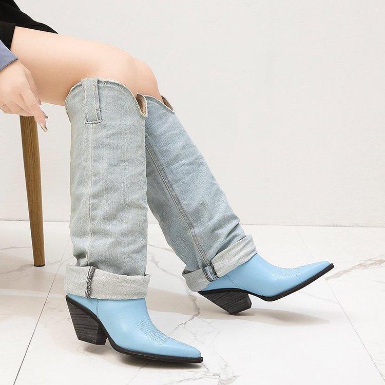 Stivali alti al ginocchio Scarpe a punta in pelle di jeans patchwork scarpe con tacchi P22 del retro delle donne