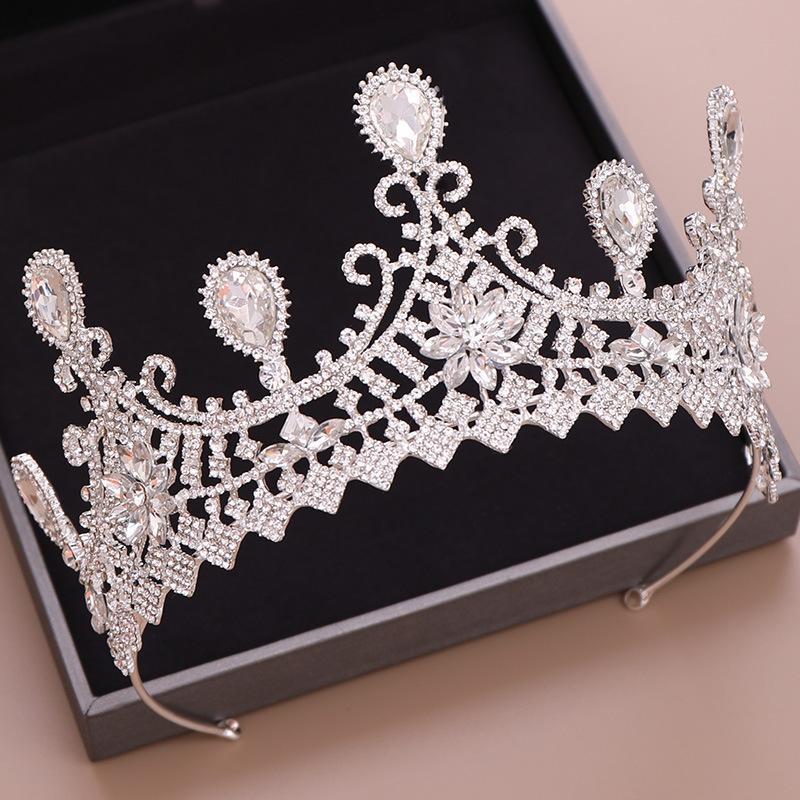 Schöne Festzug Kronen Hochzeit Kopfschmuck Dünn Blatt Milch Strass Königin Braut Tiara Krone