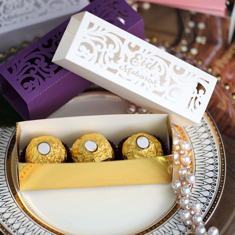 al-Fitr partido a caixa dos doces 20pcs Gold Silver Eid Mubarak Ramadan Kareem Eid al Adha feliz do partido Decoração da caixa de presente muçulmana