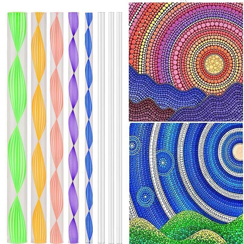 Mandala Süsleyen Araçlar Set Süsleyen Kalemler Akrilik Çubuklar Kabartma Marş Çizim Nail Art Boyama Kayalar Çizim Sanat QYLHDC