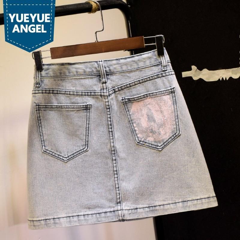 Frauen schöne Jeans-Minirock Sommer hellblau Größe hohe Wrap Linie Rock Stil Straße Tasche Reißverschluss Reißverschluss Jeansrock