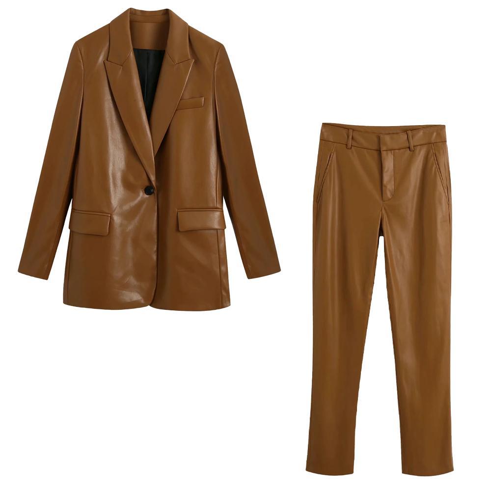 2020 New Women 2 piece set Faux Leather Blazer & Trousers High-waist ensemble blazer veste et pantalon femme C1103