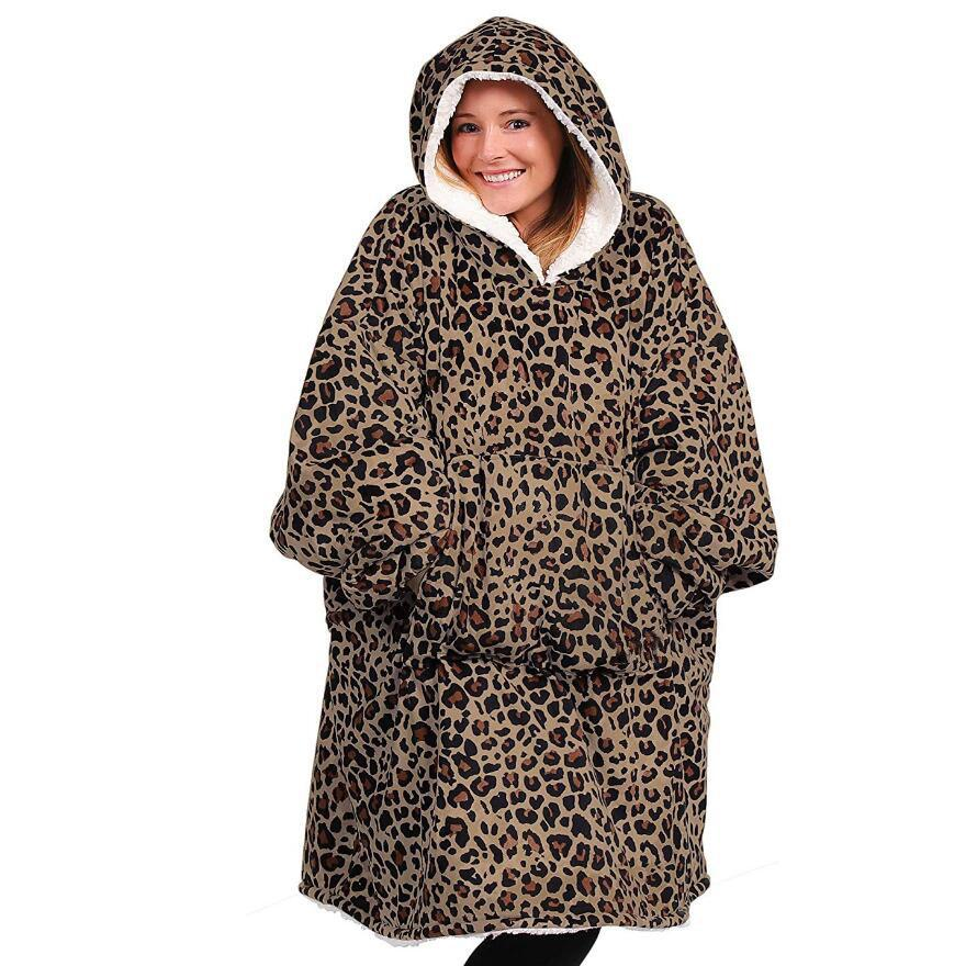 LEOPARD FLEECE SHERPA Manta con mangas super enorme enorme cálido de bolsillo al aire libre con capucha para adultos de invierno con capucha de invierno mantas Sudadera Sudadera 201128