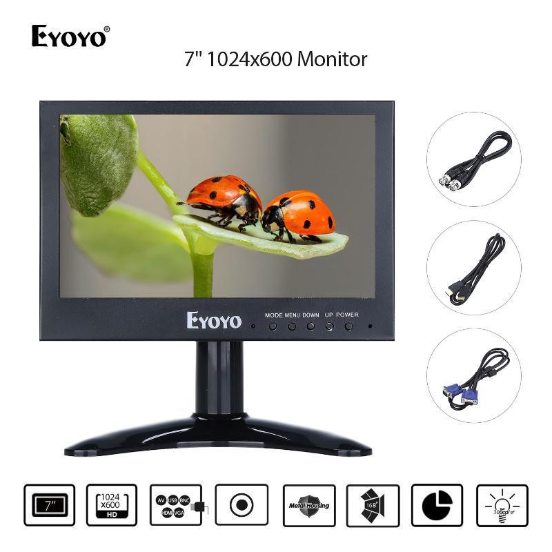 "CCTV DVD PC 노트북 DVR CCD 카메라의 BNC VGA AV의 USB 출력 PC 디스플레이와 Eyoyo 7 ""HDMI 모니터 1024 × 600 LCD 화면"
