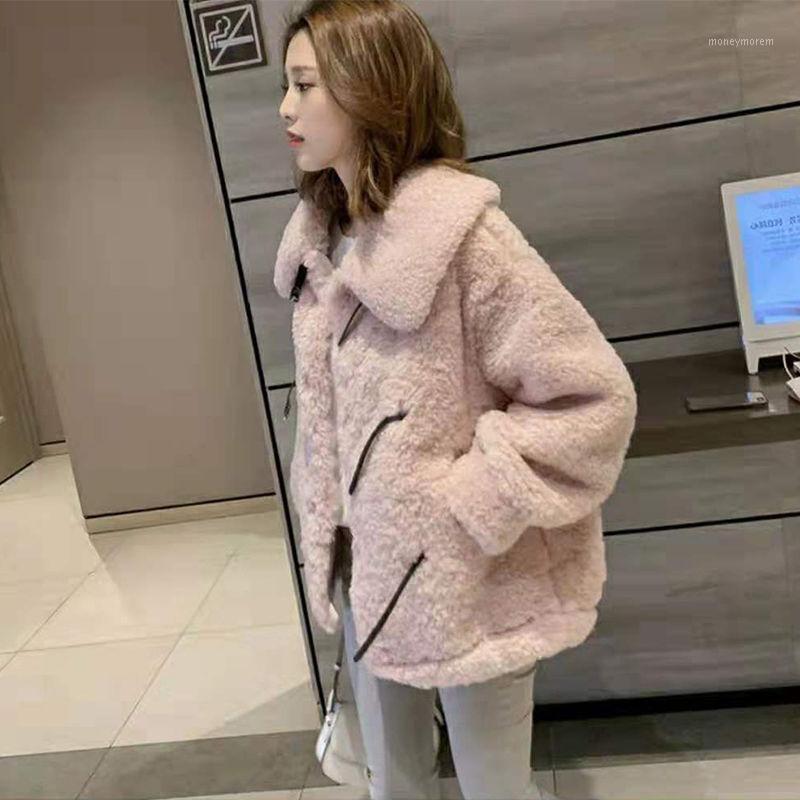 Women 2021 Autumn Winter Thick Warm Teddy Fur Jacket Coat Female Casual Fashion Lamb Faux Fur Overcoat Cozy Loose Outerwear B2341