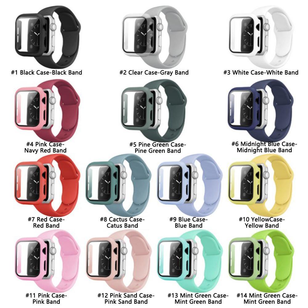 Glas + Hülle + Gurt für I Uhren-Serie 6 5 4, Paket Förderung PC-Hülle + Silikon-Uhr-Band-Riemen für Apple-Uhr