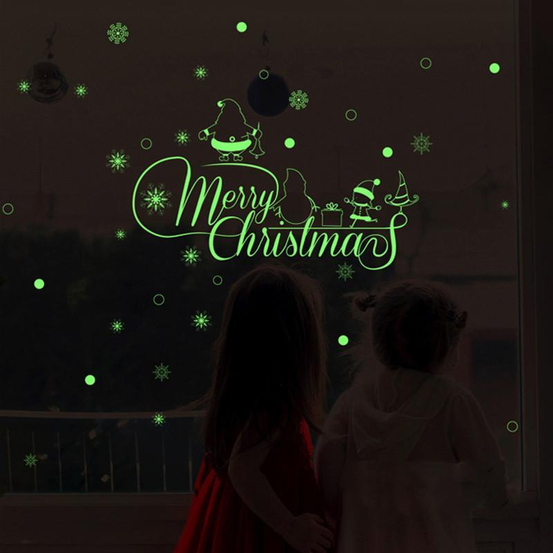 DHL Glow Snowman Wall Fluorescence Stickers Merry Christmas Living Room Luminous Window Decor For Home Mall Free Shipping