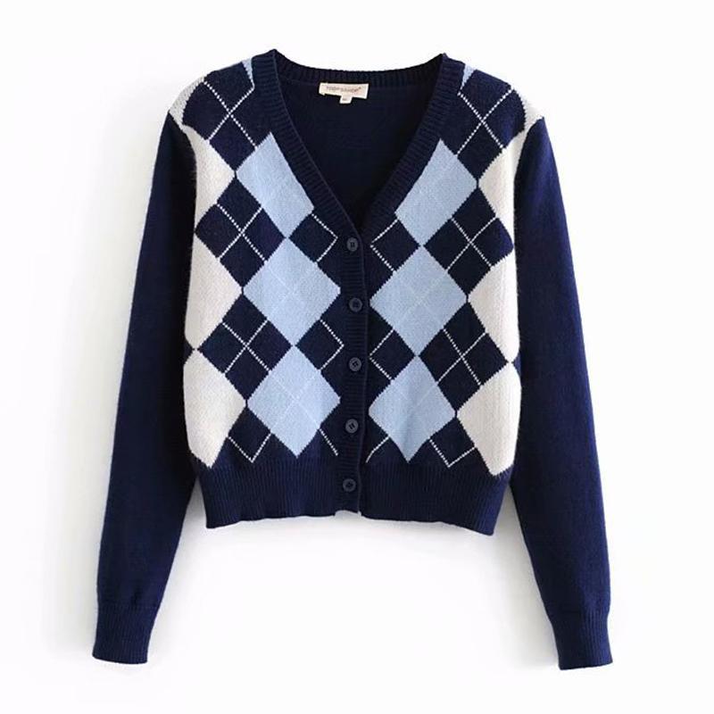 Strickjacke der neuen Frauen Pullover und weisePlaids V-Ausschnitt Strickjacke elegante Damen wilden Tops Pullover Mantel 201004