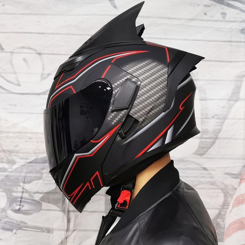 Flip Up Motorcycle Helmet Modular Moto Helmet With Inner Sun Visor Safety Double Lens Racing Full Face Helmets JK-902