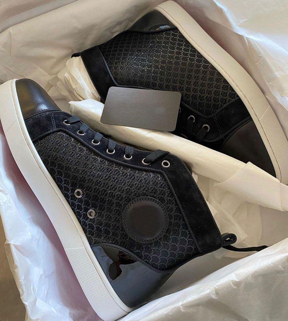 2021 العلامات التجارية أحذية رياضية أسفل الظهر للرجال، أحذية نسائية ريد باطن شبكة عارضة حفل حفل زفاف حفل زفاف بدون مرصعة أعلى المدربين السود