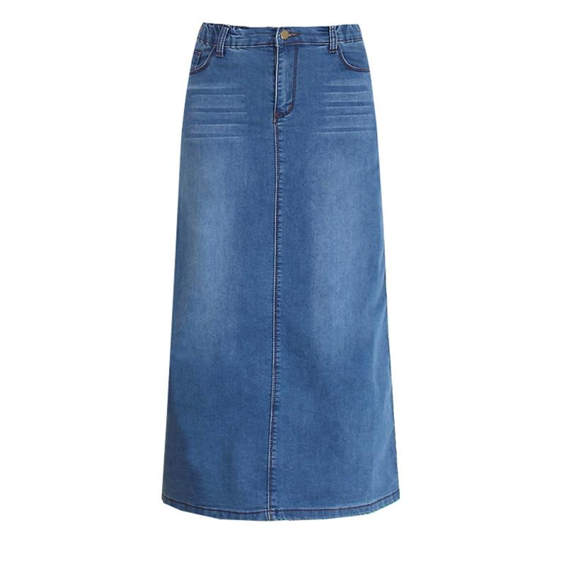 Frete Grátis 2017 Nova Moda Elástica Cintura Alta Longa A-Linha S para 2XL Plus Size Denim Jeans Primavera e Verão Estilo Mulheres Saia