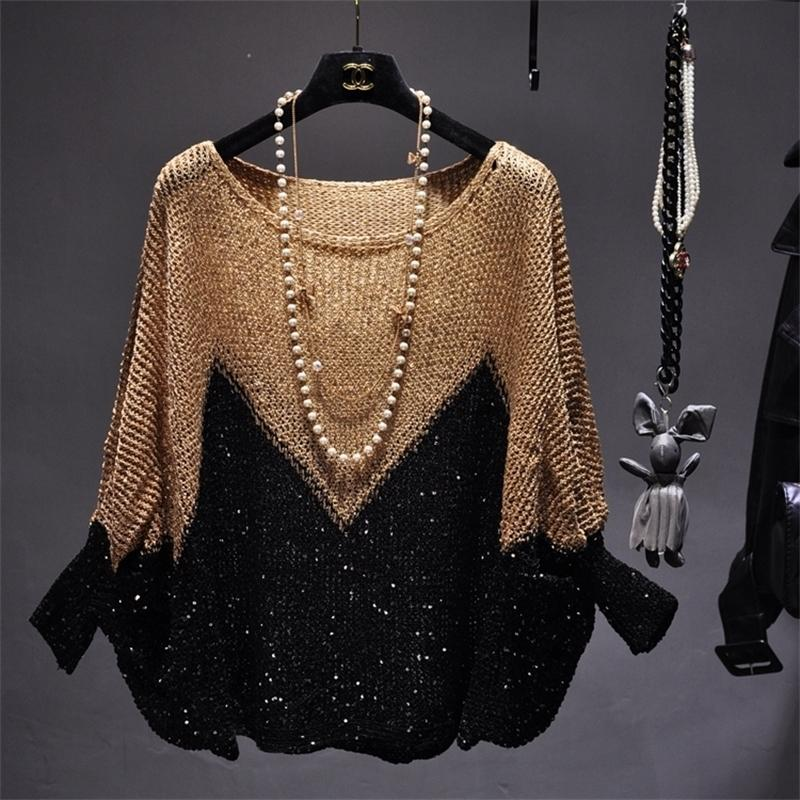 Qooth Shinny Lurex Sweater Women Round Neck Long Jumper Casual Knit Pull Femme Pullover Bling Bling Sequin Sweater QH2171 Y200909