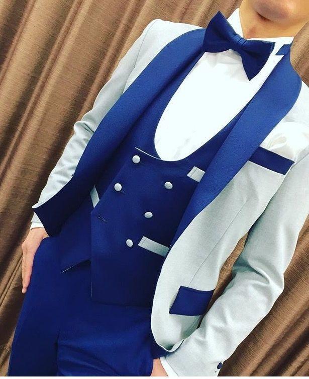 Nouvelle Arrivée GroomsMen Châle Bleu Chevervel Broom Tuxedos One Button Hommes Costumes Mariage / Bal / Dîner Best Homme Blazer (Veste + Pantalon + Cravate + Vest) K919