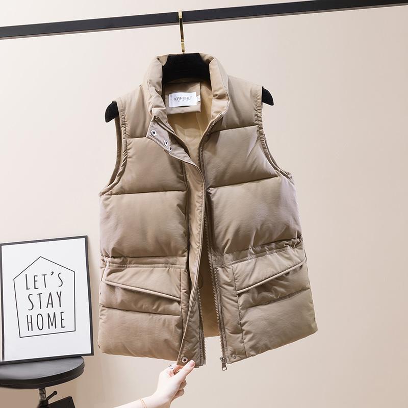 Katı Kısa Stil Yelek Kadınlar Için Pamuk Yastıklı Artı Boyutu Kadın Kış Kolsuz Ceket Fermuarlı Standı Yaka Rahat Mont