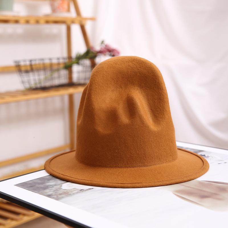 PHARRELL Şapka Fedora Şapka Kadın Erkek Şapka Keçe Siyah Top Şapka Erkek% 100% Avustralya Yün Cap 201028