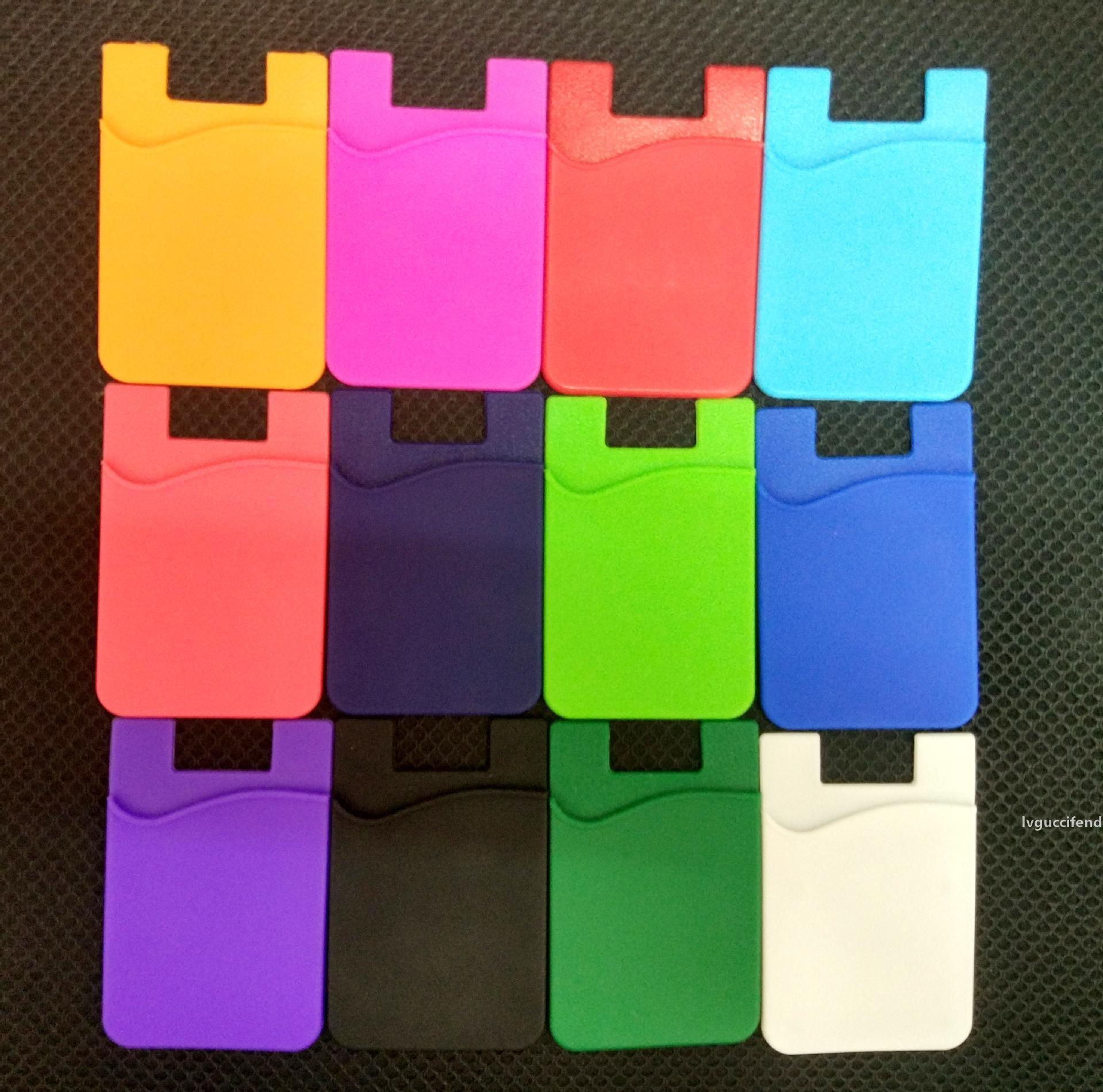 Phone Sticky Wallet Silicone Self Adhesive Card Pocket Covers Colorful Credit Card Holder Wallet Smart Silicone Phone Pouch 3M Sticky