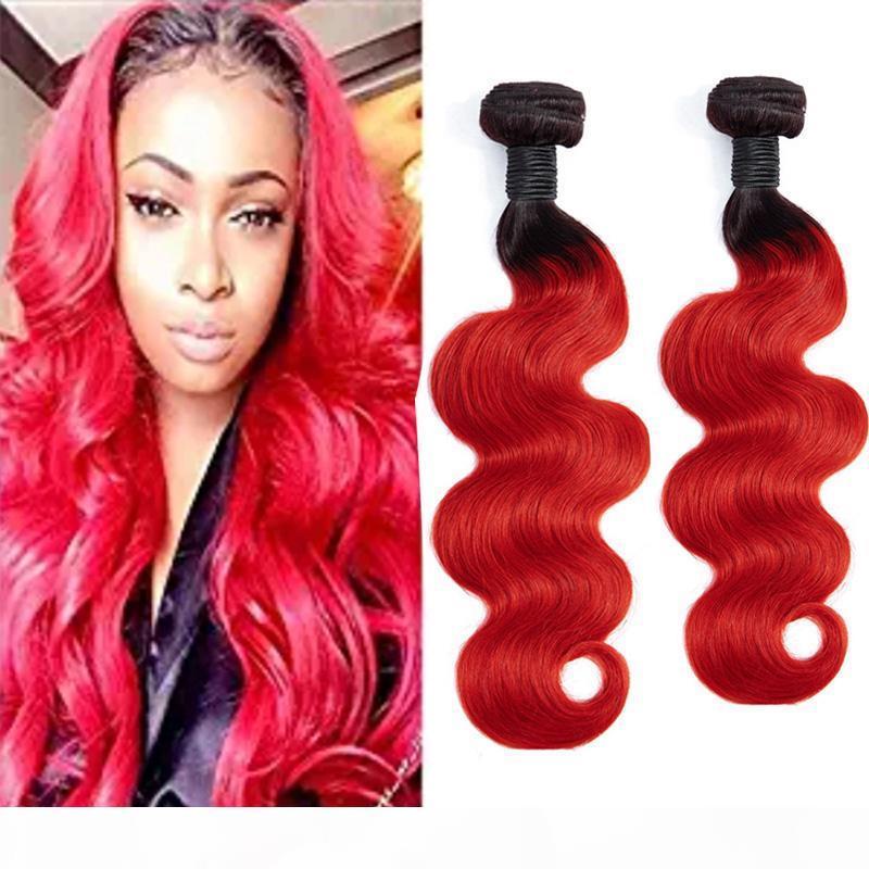 Indische Jungfrau Haarverlängerungen 2 Bündel 1b rot Ombre Human Hair Body Wave 2 Stück 1b rot 12-28inch