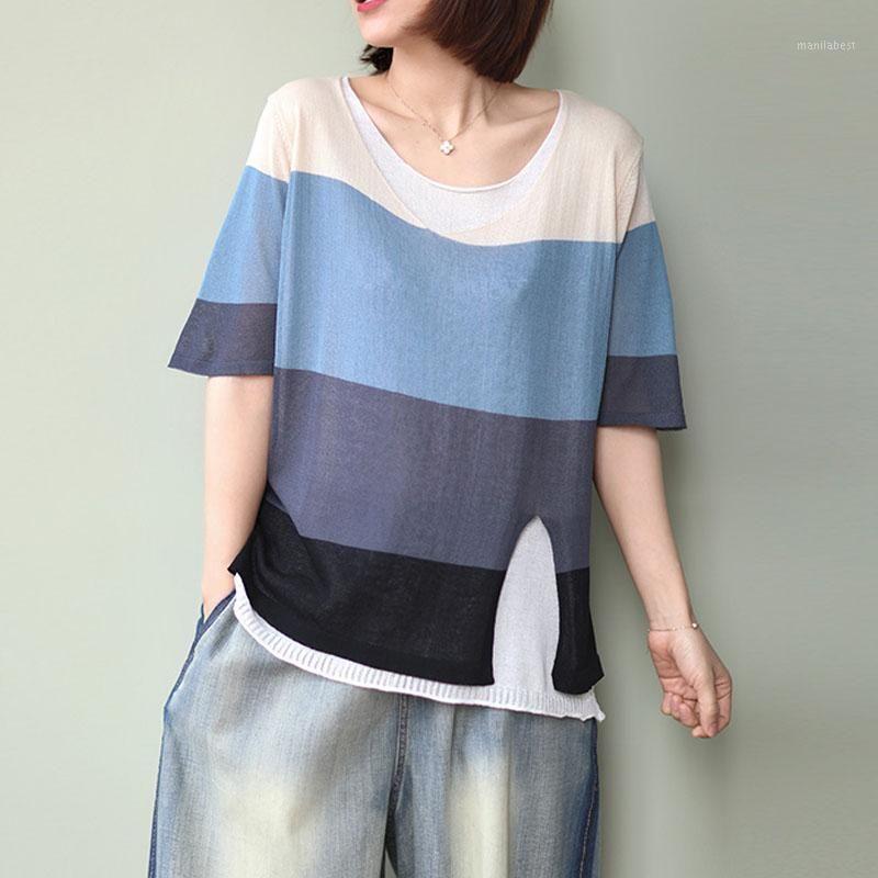 Fairynatural 2020 летние новые поддельные две лоскутные цветные ретро футболки простые о-образные шеи с коротким рукавом все-матч женские Tops1
