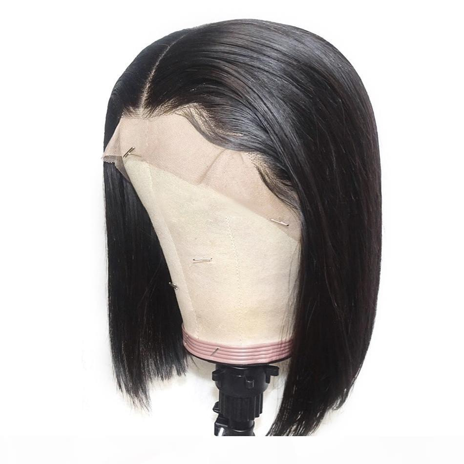 Parrucche di capelli umani anteriori del merletto 13x4 parrucche dritte Breve parrucca bob per le donne Natural Nero Remy Brasiliano Brasiliano Nodi sbiancati